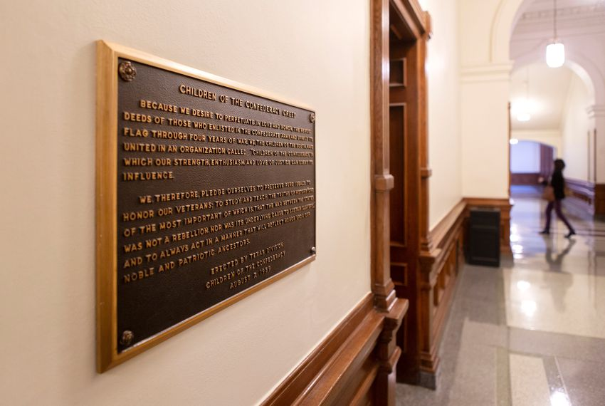 "The ""Children of the Confederacy Creed"" plaque has drawn controversy for its denial that preserving slavery was an underlying cause of the Civil War."