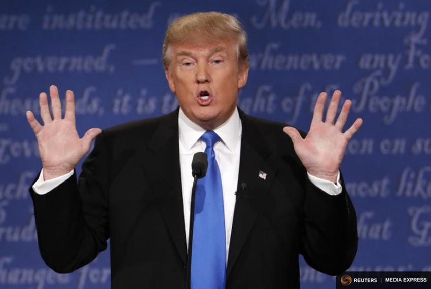 Republican U.S. presidential nominee Donald Trump speaks during the first debate with Democratic U.S. presidential nominee H…
