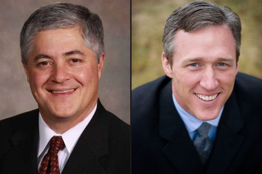 State Rep. John Frullo (left) of Lubbock faces former State Rep. Jim Landtroop (right) in the Republican primary.