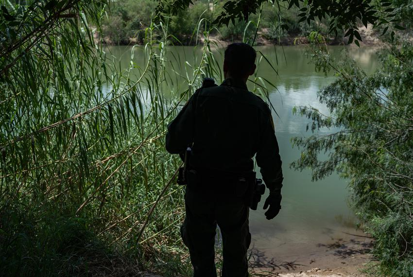 Border Patrol agent Robert Rodríguez, 38, oversees a common landing area for people crossing the Rio Grande River.