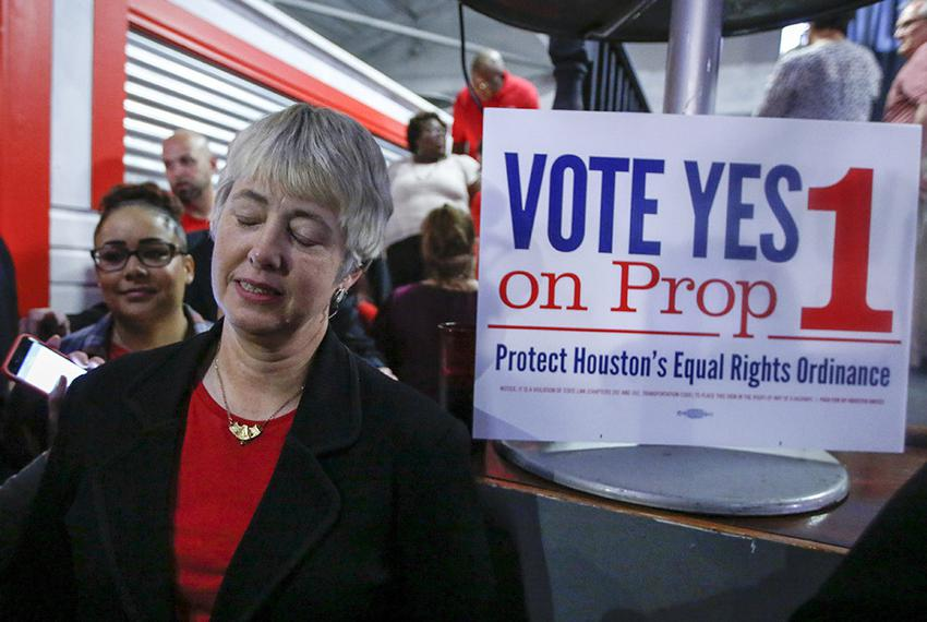 Houston Mayor Annise Parker after the Houston Unites election watch party for Proposition 1 on Nov. 3, 2015.