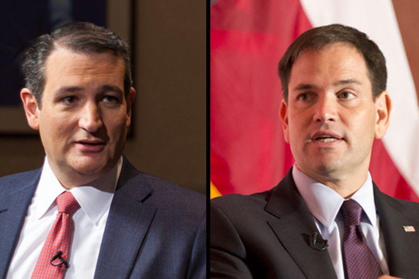 U.S. Senators and GOP presidential hopefuls Ted Cruz, left, and Marco Rubio.