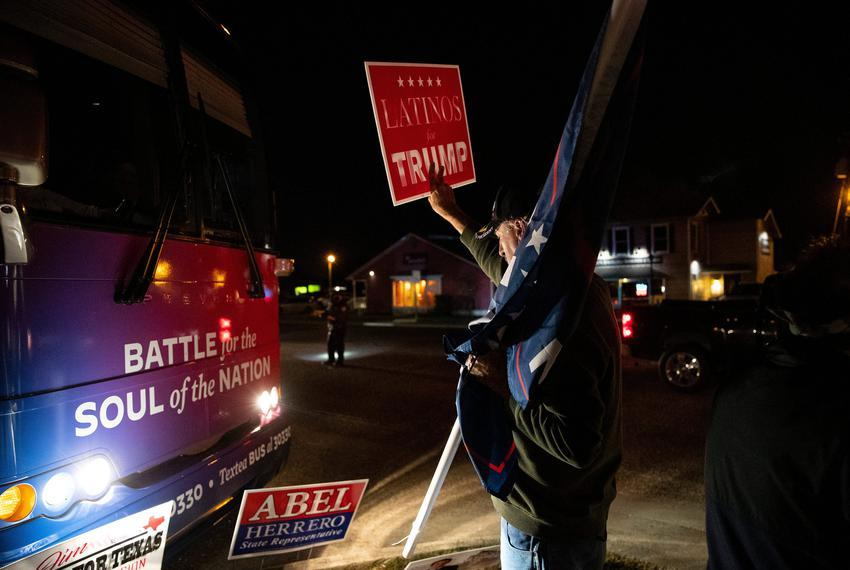 President Trump supporters hold a counter rally to Joe Biden's Battle for the Soul of Texas bus tour event at the Sunrise Ma…