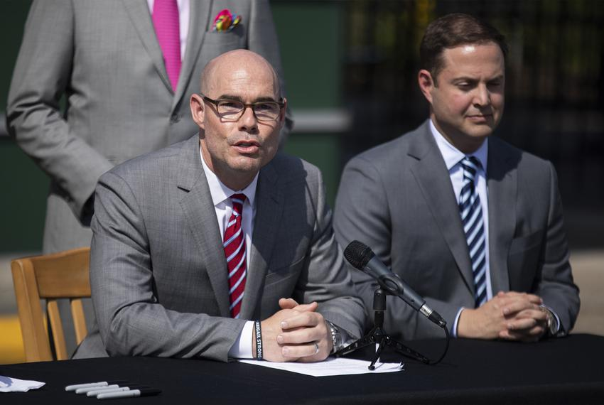 From left: House Speaker Dennis Bonnen and state Rep. Dustin Burrows, R-Lubbock, at a bill signing ceremony for Senate Bil...