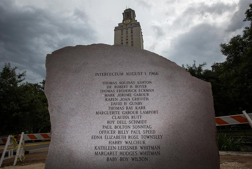 The granite memorial on the campus of the University of Texas at Austin in memory of the victims of Charles Whitman's murd...
