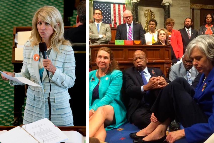 Left: Wendy Davis is shown during her 2013 filibuster in the Texas Senate. Right: U.S. House Democrats staged a sit-in on ...