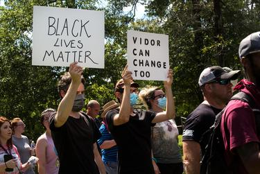 """Protesters march in memory of George Floyd in Vidor on June 06, 2020. Organizers of the rally in Vidor, historically known as a """"sundown town,"""" said they wanted to change the reputation and move on from the past. Pu Ying Huang for Texas Tribune."""