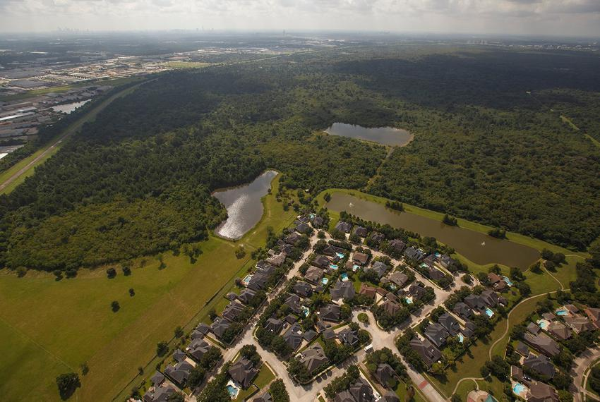 Development encroaching on the north side of Addicks Reservoir in Houston on Sept. 7, 2016.