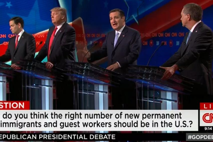 The remaining four presidential contenders at the GOP debate in Miami, Florida on March 10, 2016.