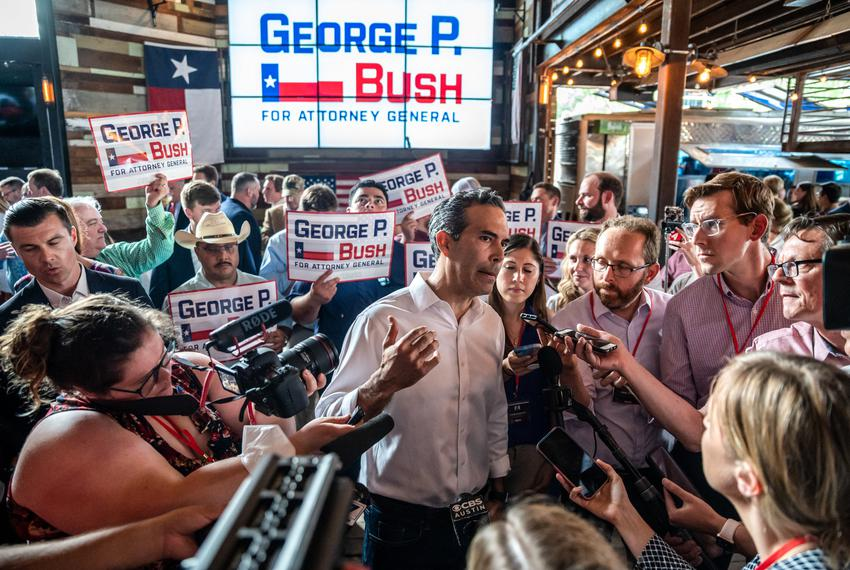 Texas Land Commissioner George P. Bush speaks to members of the media after announcing his candidacy for Texas Attorney Gene…