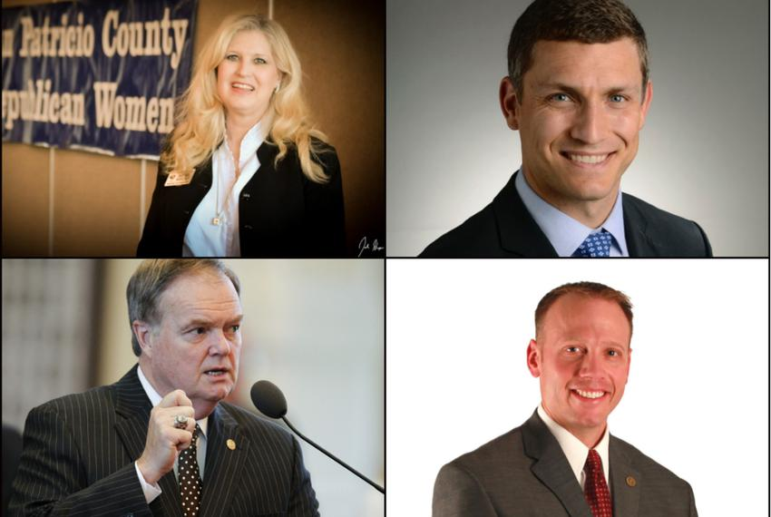 GOP Candidates for the Railroad Commission of Texas. Clockwise, from top left: Becky Berger, Malachi Boyuls, Ryan Sitton and…