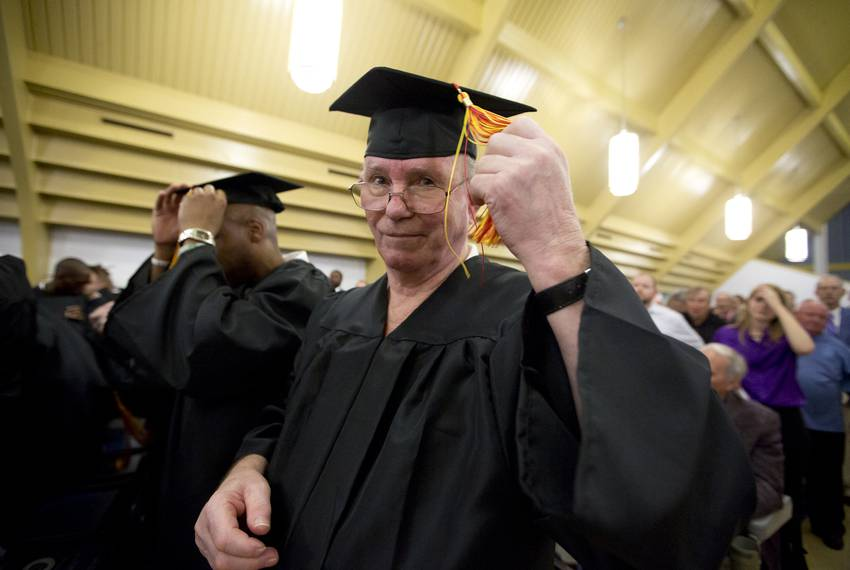 Graduate Leroy L. Youngblood takes part in the commencement ceremony for the first graduating class of the Southwestern Ba...