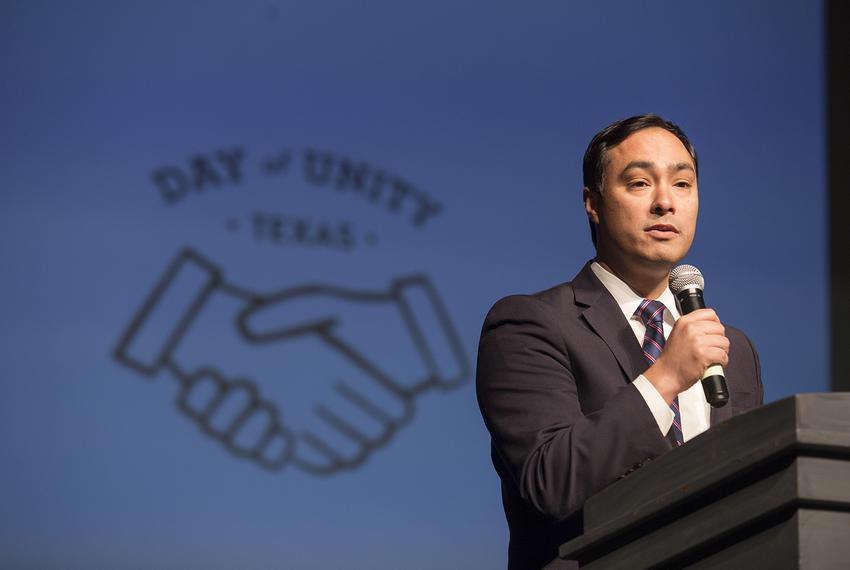 "U.S. Congressman Joaquin Castro at a ""Day of Unity"" forum put on by students in Bellaire on Sunday, March 25, 2018."