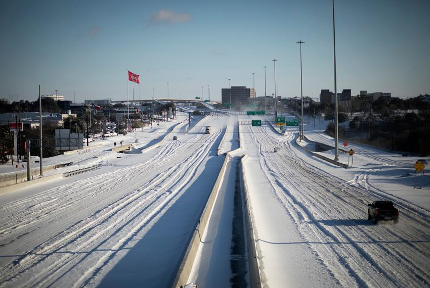 A northbound view of I-35 at East Stassney Lane in south Austin on Feb. 15, 2021.