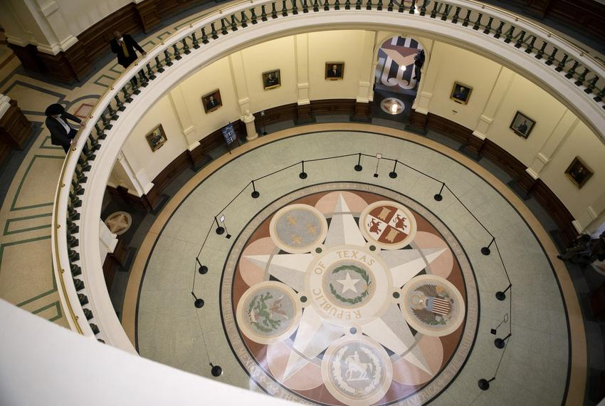 A view inside the state Capitol on the opening day of the Legislative Session. The Capitol was mostly empty on opening day b…