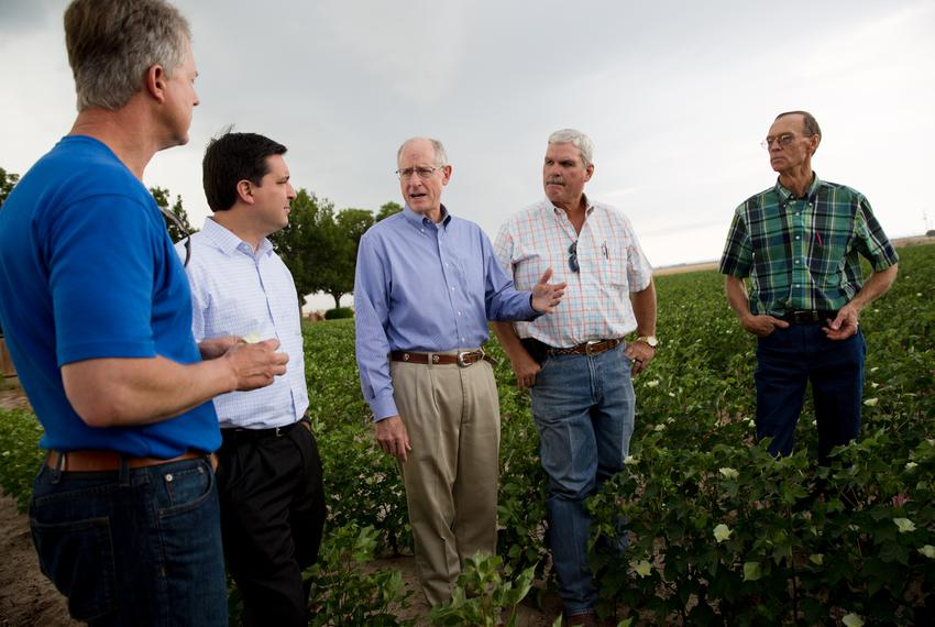 U.S. Rep. Mike Conaway, R-Midland, speaks with U.S. Reps. David Rouzer and Roger Marshall and farmers at a cotton farm outsi…