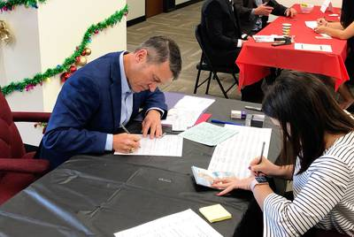 Former Naval Rear Admiral Ronny Jackson submits paperwork to run for U.S. Congress at the Texas GOP headquarters in Austin on Dec. 9, 2019. Jackson is running to replace retiring U.S. Rep. Mac Thornberry, R-Clarendon.