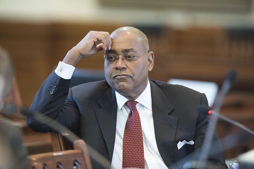 Retiring Sen. Rodney Ellis, D-Houston, listens to testimony during the Senate Committee on State Affairs hearing on religious freedom on Feb. 17, 2016.