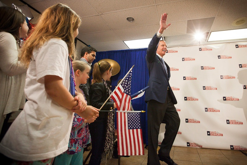 Lt. Gov. David Dewhurst spoke to supporters in Houston after it became clear he would head into a runoff election against state Sen. Dan Patrick, R-Houston.
