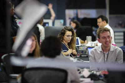 The Texas Tribune newsroom on Election Day in 2018.