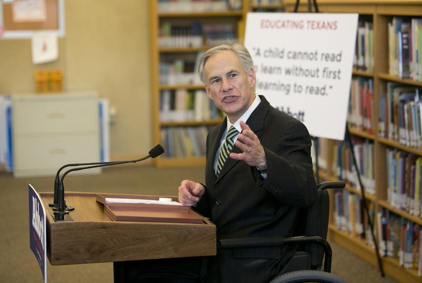 Attorney General and gubernatorial candidate Greg Abbott speaks to media about his education proposals at IDEA Carver Academ…