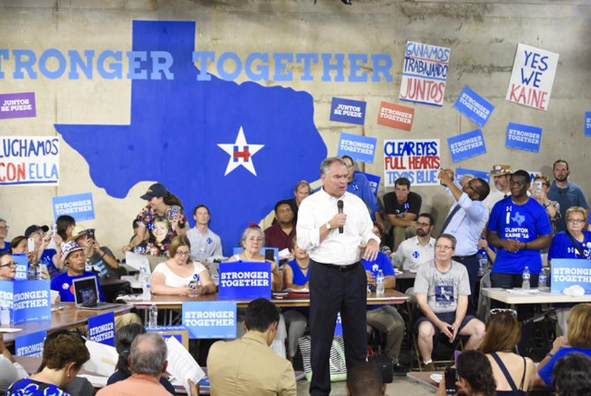 Democratic vice presidential nominee Tim Kaine speaks to volunteers at a Texas Democratic Party office in Austin on Aug. 8, …
