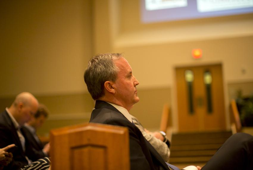 Texas Attorney Gen.  Ken Paxton, speaks at The Texas Response: Pastors, Marriage & Religious Freedom event at the First Bapt…