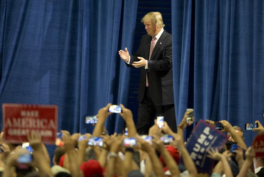 Republican Presidential nominee, Donald Trump enters a rally in Austin, Texas on August 23, 2016