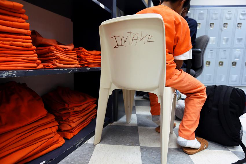 The intake room at the Travis County Juvenile Detention Center in Austin, Texas, Monday, June 24, 2013.