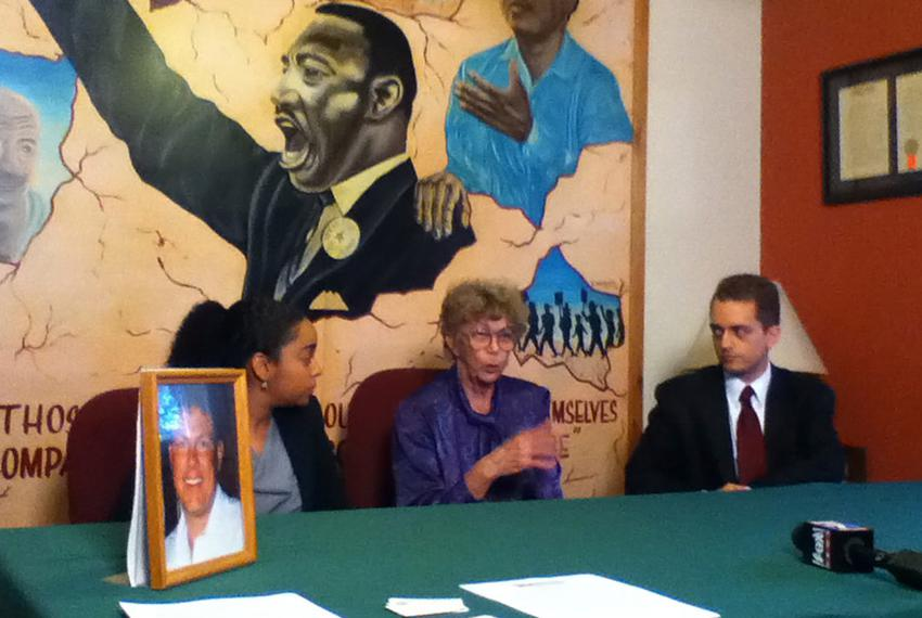 At a Texas Civil Rights Project press conference, Shirley Appell, center, the mother of Shawn Appell, argues that jailers in…