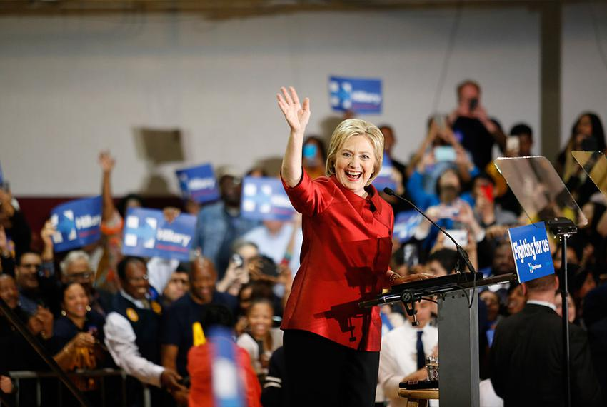 Hillary Clinton greets supporters at Texas Southern University in Houston Saturday, February 20, 2016, after winning the N...