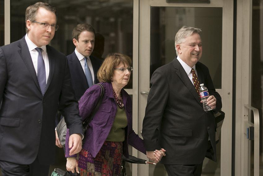 Former U.S. Rep. Steve Stockman, R-Friendswood, right, leaves the United States District Courthouse in Houston on Monday, Ap…