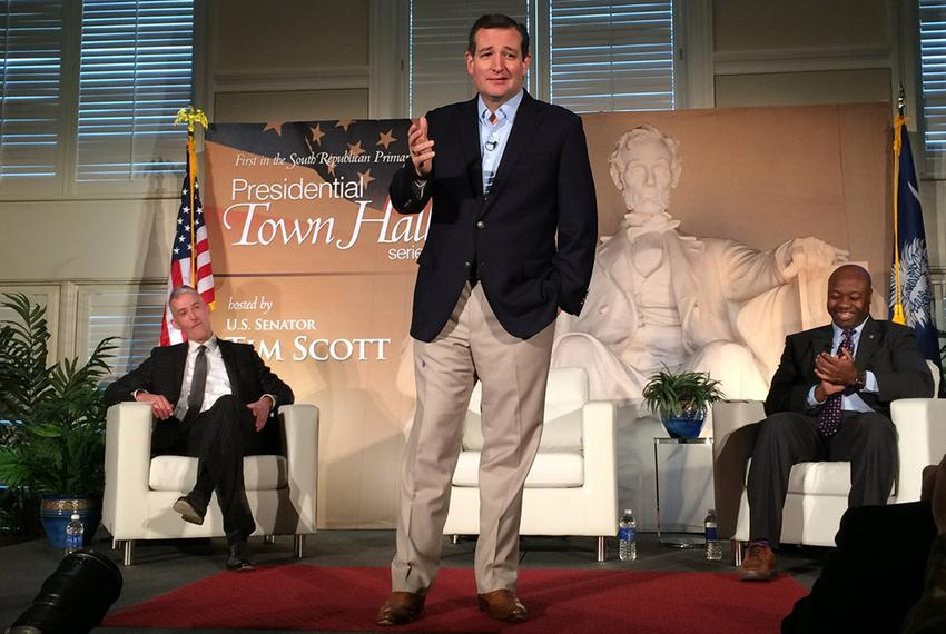 U.S. Sen. and presidential candidate Ted Cruz at a presidential town hall hosted by Sen. Tim Scott, R-S.C., (r.) at Furman...
