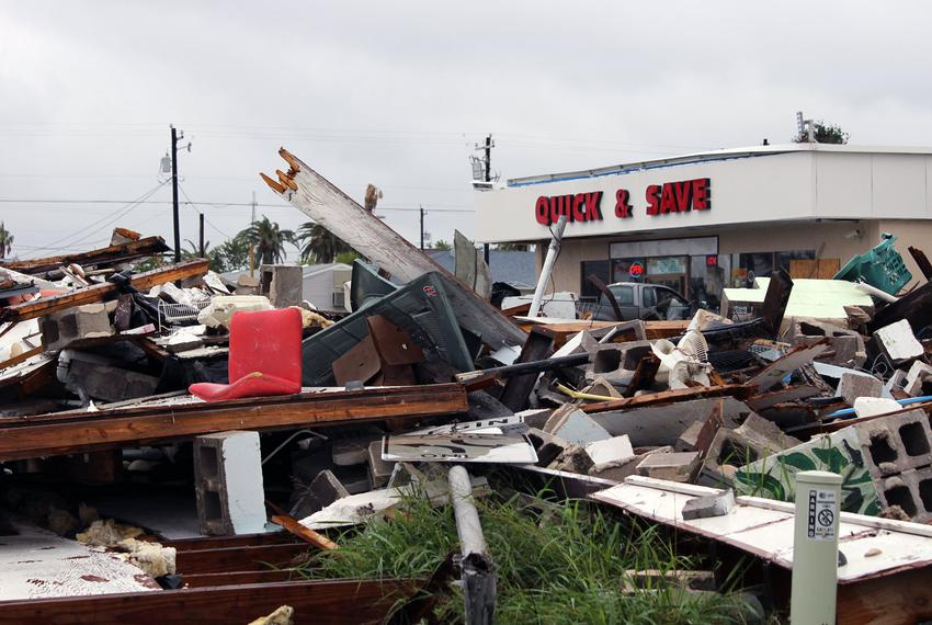 Debris covered a street corner in Rockport in December, more than three months after Hurricane Harvey made landfall in the t…