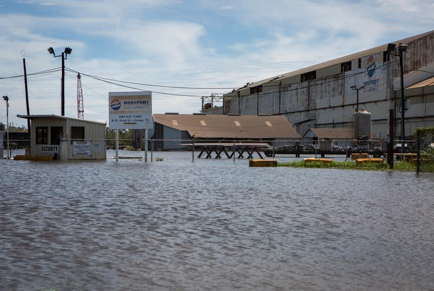 Westport Orange shipyard stands in floodwater from a swollen Sabine River in Orange on Aug. 27, 2020.