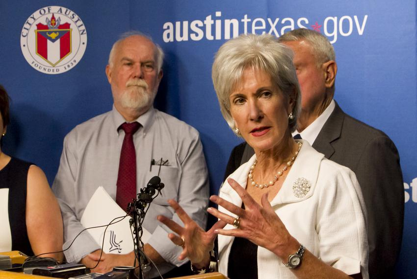 U.S. Health and Human Services Secretary Kathleen Sebelius met in Austin with leaders from the health care industry to dis...