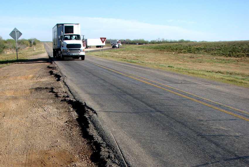 A natural gas drilling boom in the Eagle Ford Shale area in South Texas is straining the area's rural roads as more than 1,000 loaded trucks are needed to bring a single well into production.