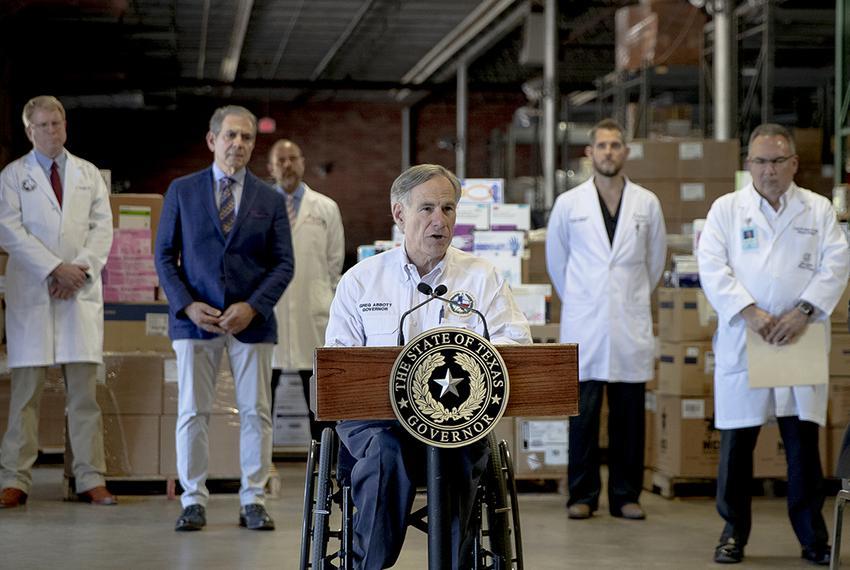Gov. Greg Abbott speaks during a press conference about the state's response to the coronavirus on Tuesday in Austin on Ma...
