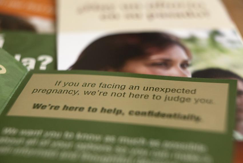 Pregnancy and abortion related brochures from The John Paul II Life Center in Austin. June 4, 2021.