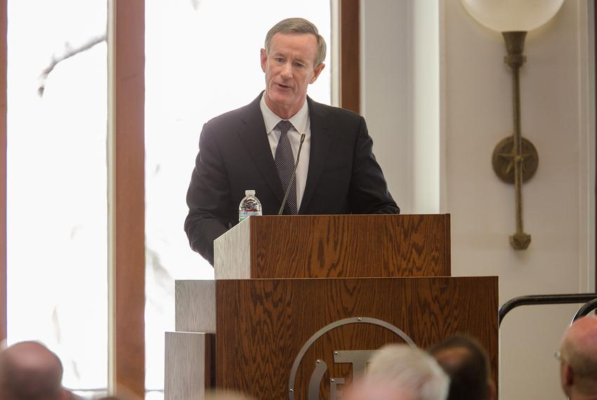 William McRaven, chancellor of the University of Texas System, at the Intelligence Studies Project at The University of Te...