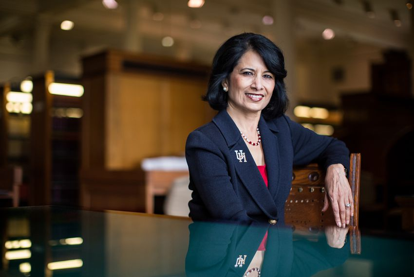 Renu Khator, president of the University of Houston and chancellor of the University of Houston System, at the Texas state Capitol on Sept. 15, 2014.