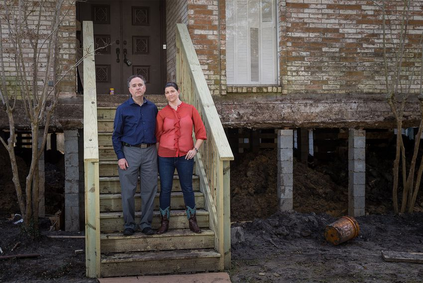 Dave Schwartz and Marni Axelrad at their home in Houston on Feb. 23, 2018. The house is being repaired and elevated due to significant damage from Hurricane Harvey, but Schwartz and Axelrad hope to move back in sometime in March.