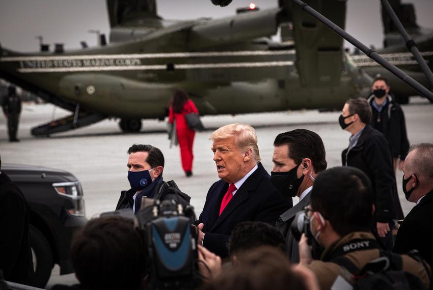 Former President Donald Trump walks from his flight at Valley International Airport in Harlingen on Jan. 12, 2021.