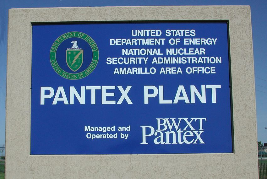 The east gate to the U.S. Department of Energy's Pantex Plant near Amarillo.