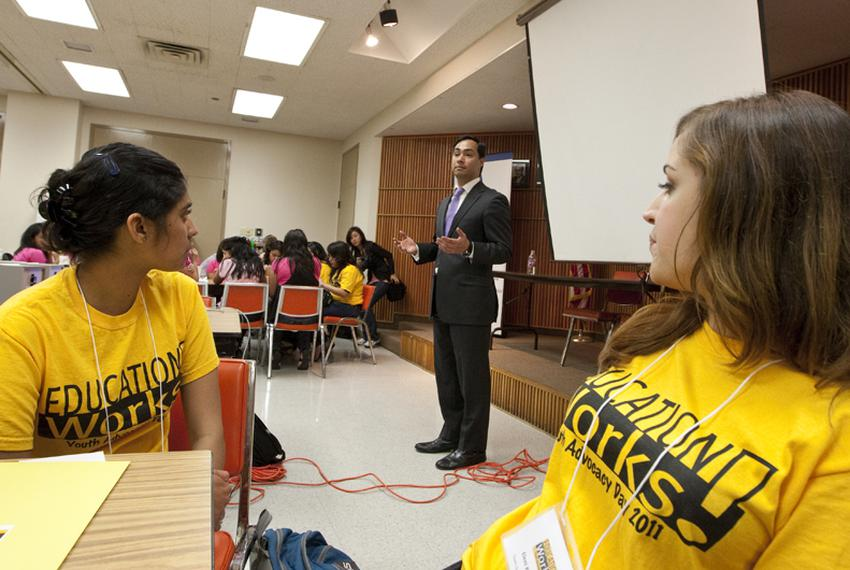 State Rep. Joaquin Castro, D-San Antonio speaks to youth group in Austin to advocate for more comprehensive sex education in…
