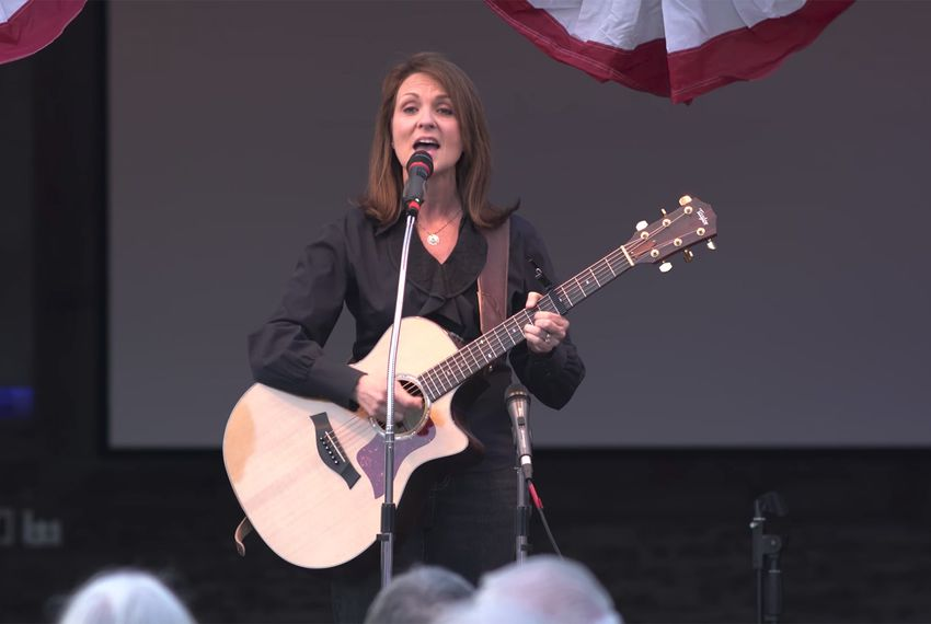 "Angela Paxton, wife of Texas Attorney General Ken Paxton, sings ""Pistol Packin' Mama"" at a NE Tarrant Tea Party gathering in 2016."