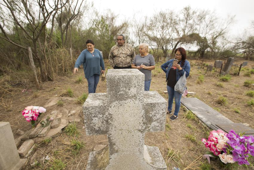 (left to right) Gina Wisdon, Juan Mancias tribal chair of the Carrizo/Comecrudo group, Adelina Yarrito and Cecilia Gonzale...
