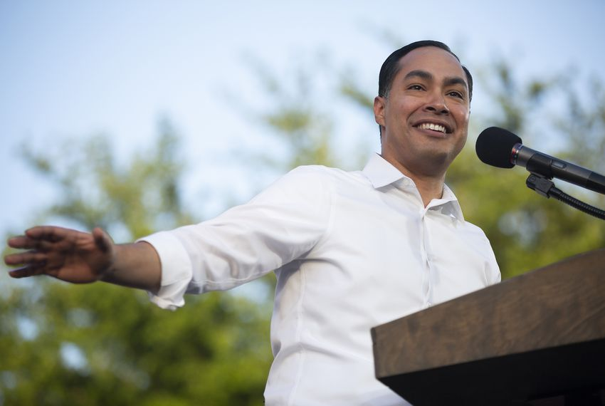 Presidential candidate Julián Castro spoke at a rally in San Antonio last week after an earlier visit to the city by President Donald Trump.