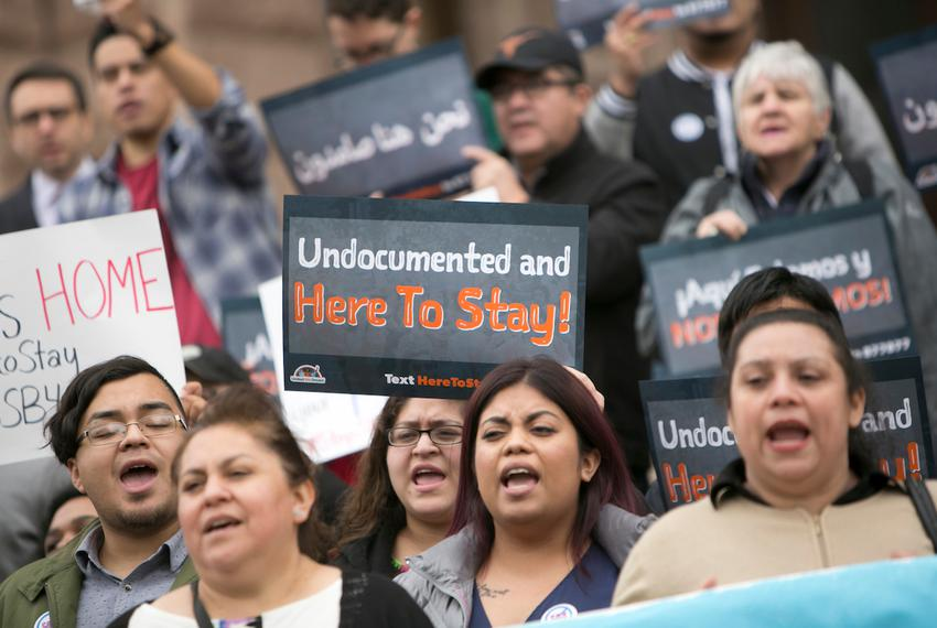Critics of Senate Bill 4, a bill banning sanctuary cities, protest at the Texas Capitol as the bill is scheduled to be debat…