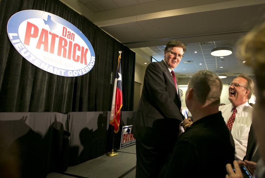 State Sen. Dan Patrick celebrates his election as the next lieutenant governor of Texas in Houston on November 4th, 2014.